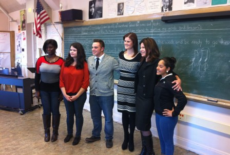 Speaking with choir students at Lake View High School (Photo: Magda Krance/Lyric Opera of Chicago)