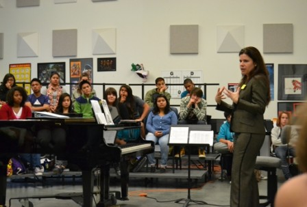 Speaking with vocal students at Cortines High School (Photo: LA Opera)