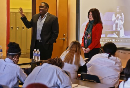 With fellow Lyric Opera Community Ambassador Eric Owens at Young Women's Leadership Charter School (Photo: Andrew Cioffi/Lyric Opera of Chicago)